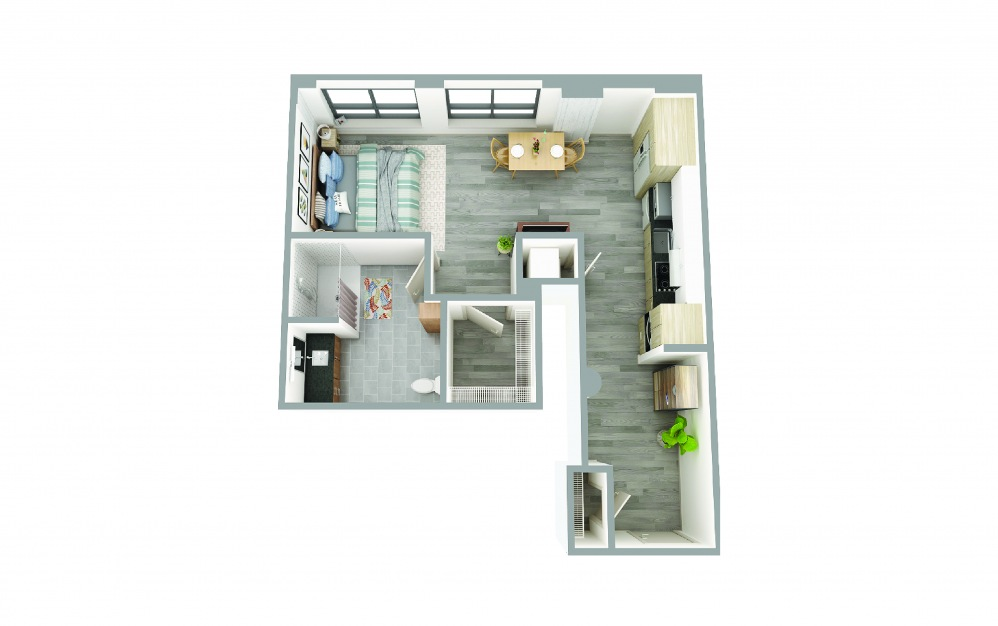 106 - Studio floorplan layout with 1 bath and 500 square feet.