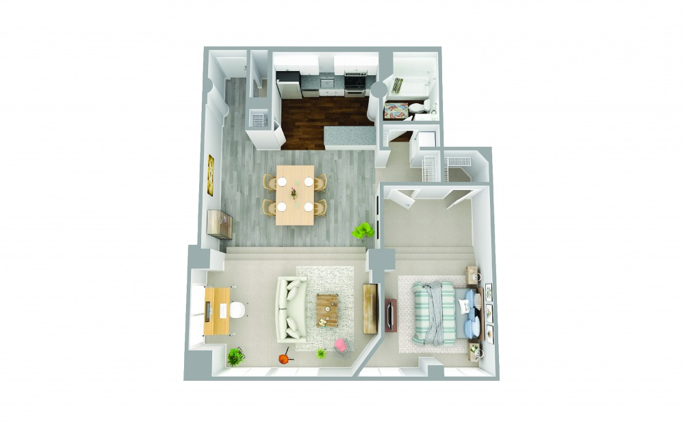 109 - 1 bedroom floorplan layout with 1 bath and 1084 square feet.