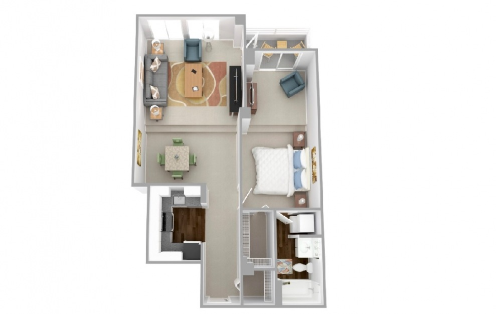 Beacon - 1 bedroom floorplan layout with 1 bath and 791 square feet.