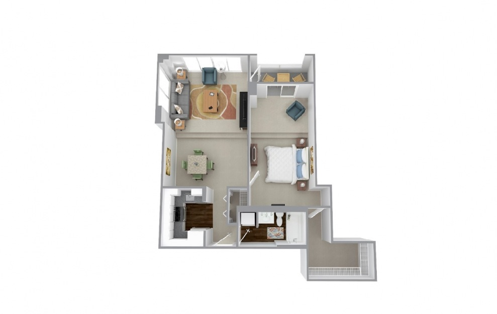 Duncon - 1 bedroom floorplan layout with 1 bath and 863 square feet.