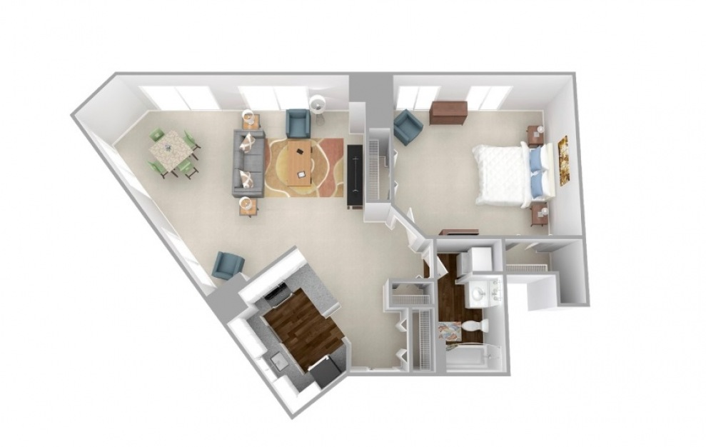 Essex - 1 bedroom floorplan layout with 1 bath and 904 to 940 square feet.