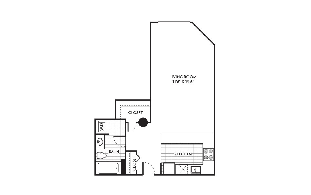 Maple - Studio floorplan layout with 1 bath and 500 to 670 square feet.