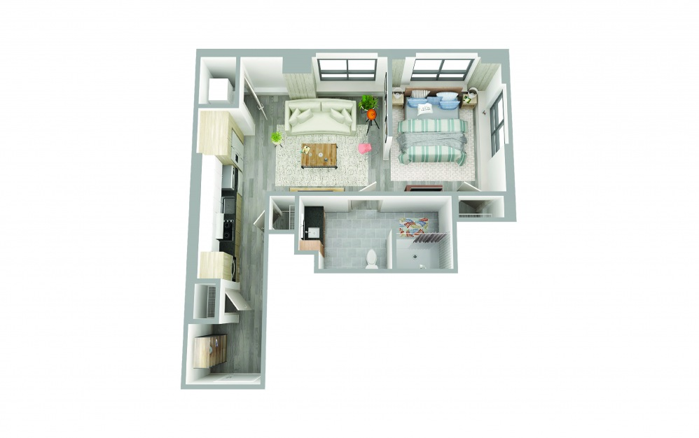 T-3 - Studio floorplan layout with 1 bath and 630 square feet.