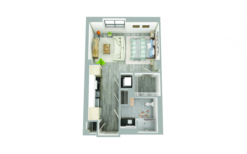 T-4 - Studio floorplan layout with 1 bath and 500 to 670 square feet.