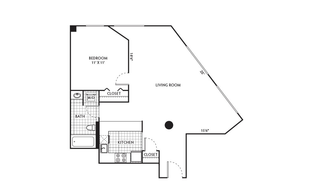 Walnut - 1 bedroom floorplan layout with 1 bath and 692 to 896 square feet.