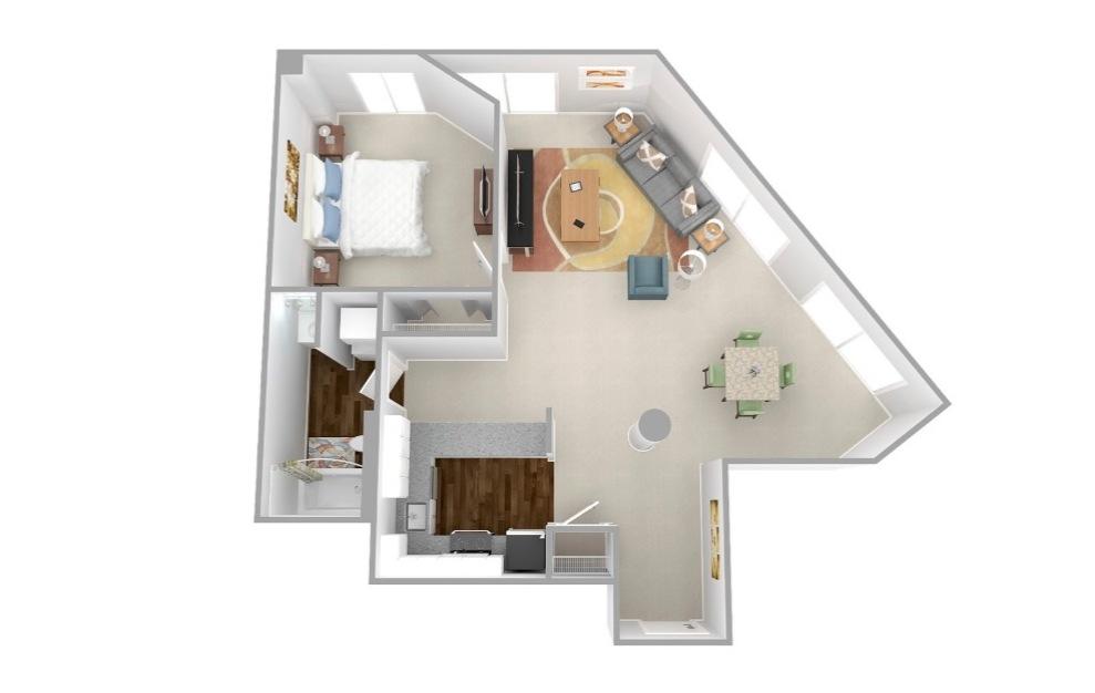 Walnut - 1 bedroom floorplan layout with 1 bath and 692 square feet.