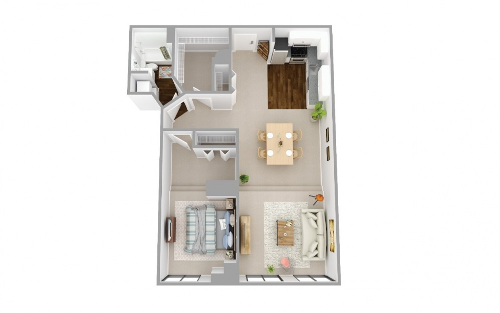 107 - 1 bedroom floorplan layout with 1 bath and 841 square feet.