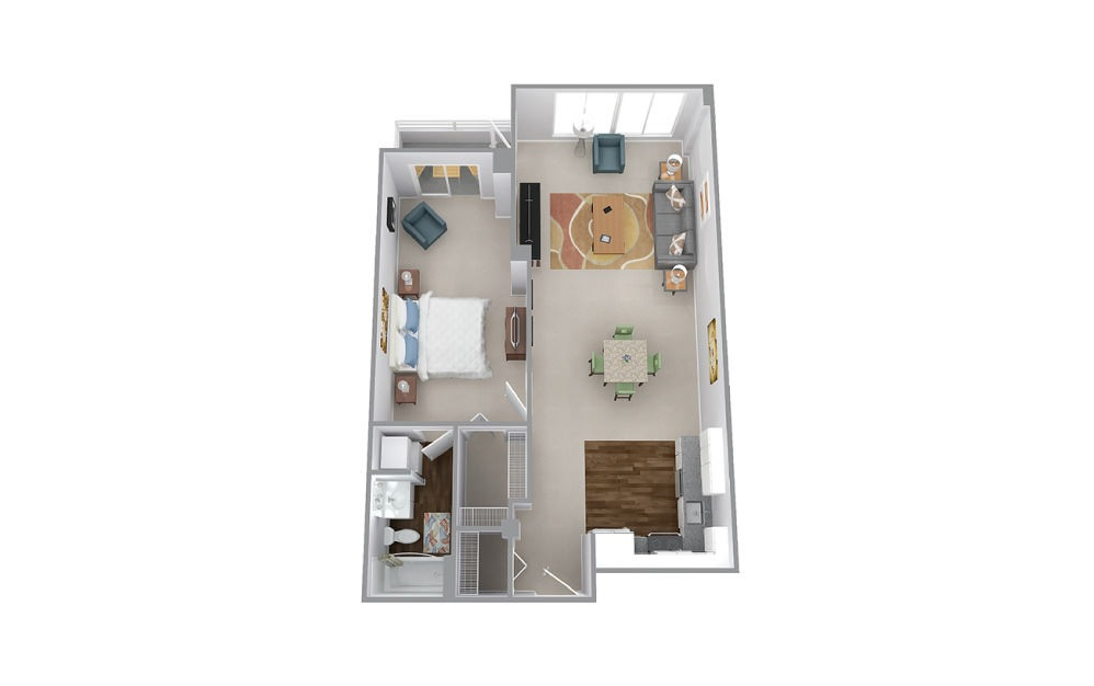 Bailey - 1 bedroom floorplan layout with 1 bath and 841 to 858 square feet.