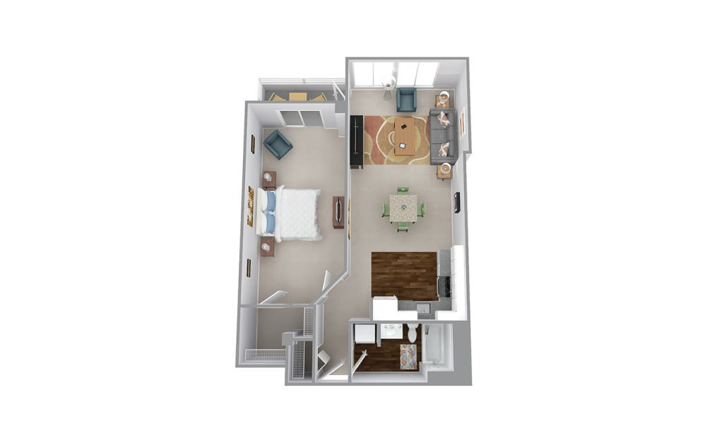 Cherry - 1 bedroom floorplan layout with 1 bath and 876 to 904 square feet.