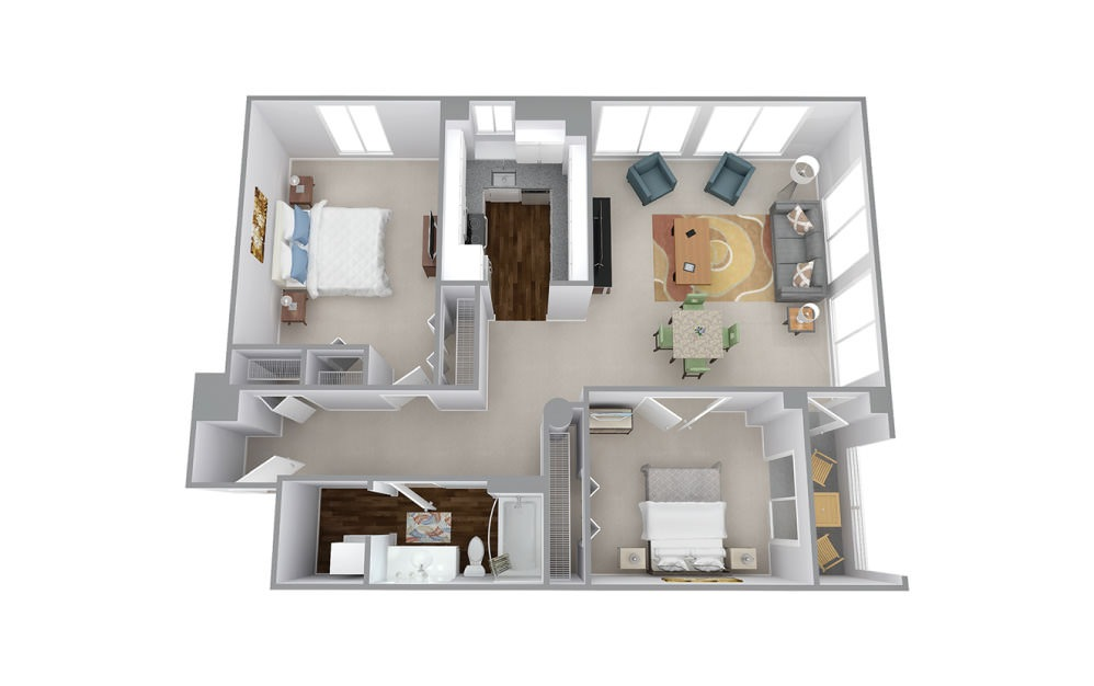 Jackson - 2 bedroom floorplan layout with 1 bath and 1143 to 1164 square feet.