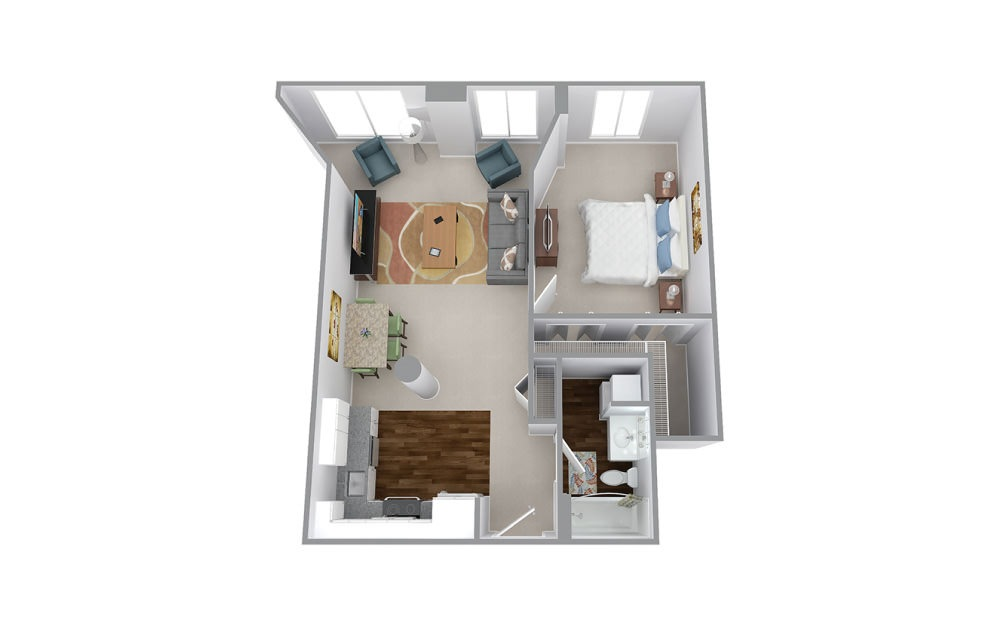 Newell - 1 bedroom floorplan layout with 1 bath and 735 square feet.